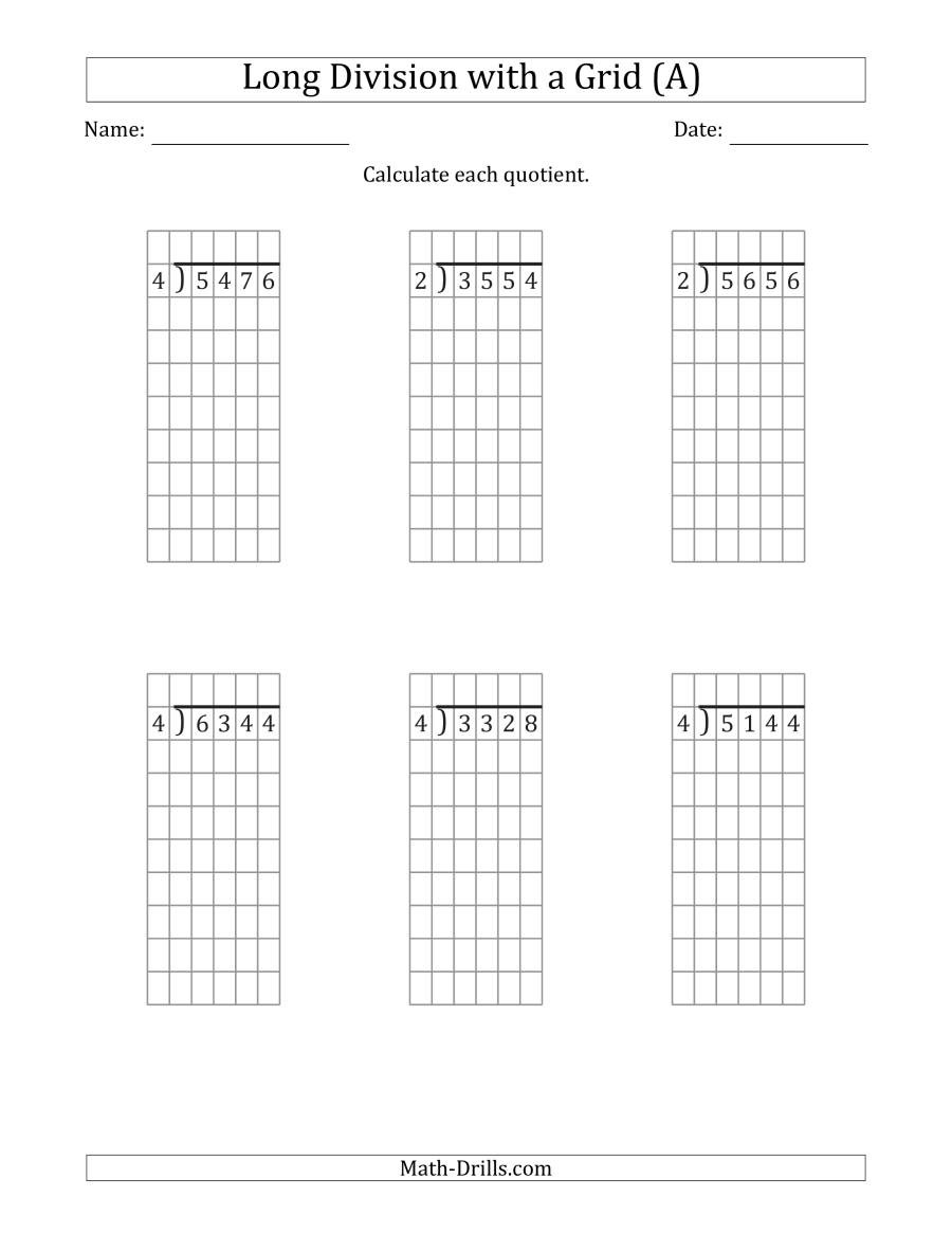 Math Drills Long Division 4 Digit by 1 Digit Long Division with Grid assistance and No