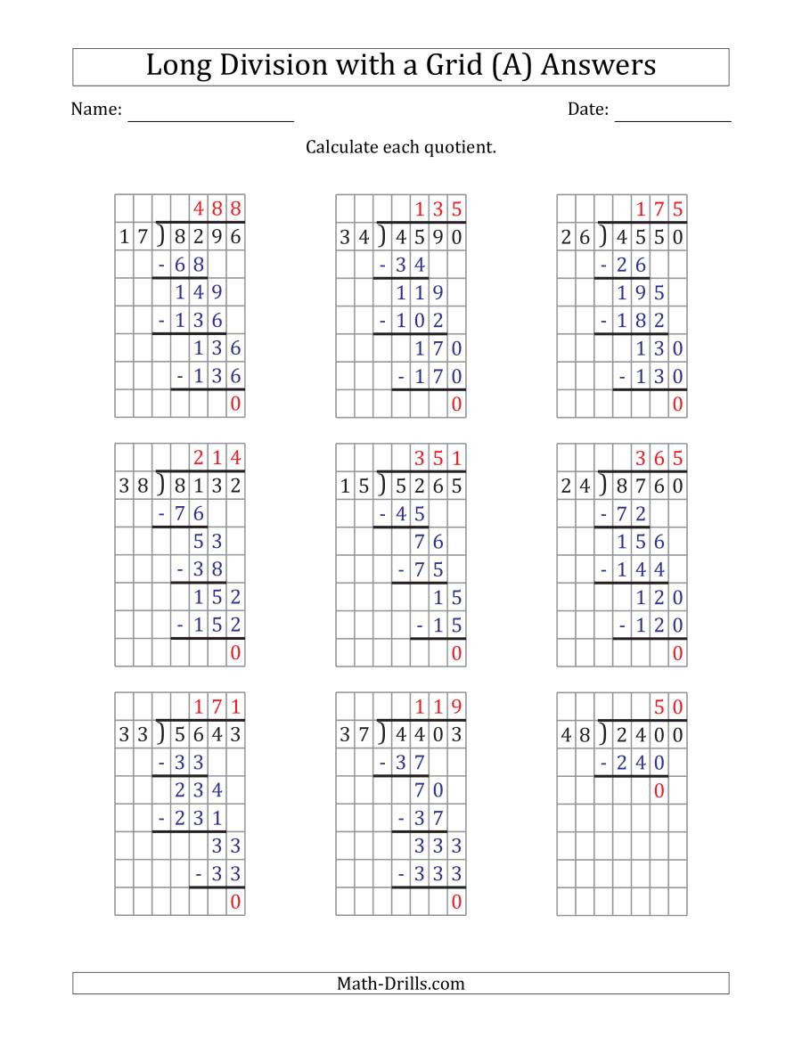 Math Drills Long Division 4 Digit by 2 Digit Long Division with Grid assistance and No