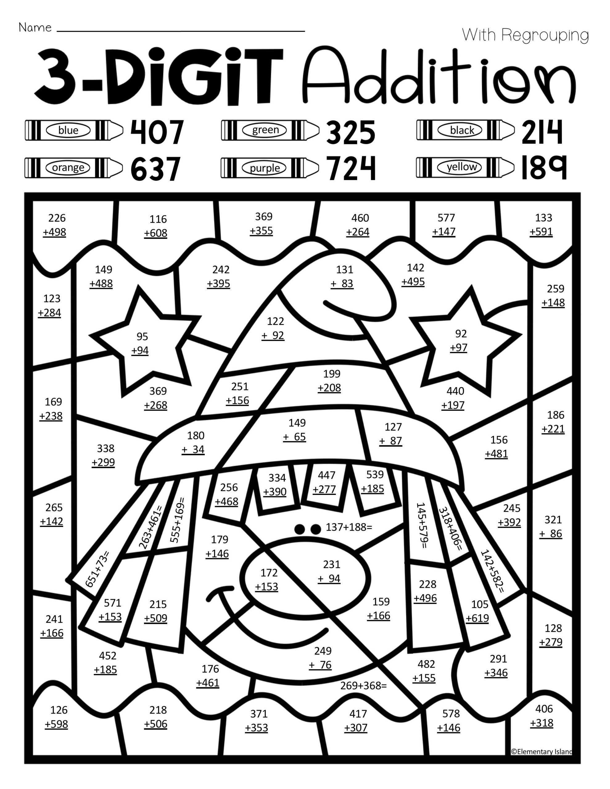 Math Mystery Picture Worksheets Halloween Three Digit Addition Color by Number with and