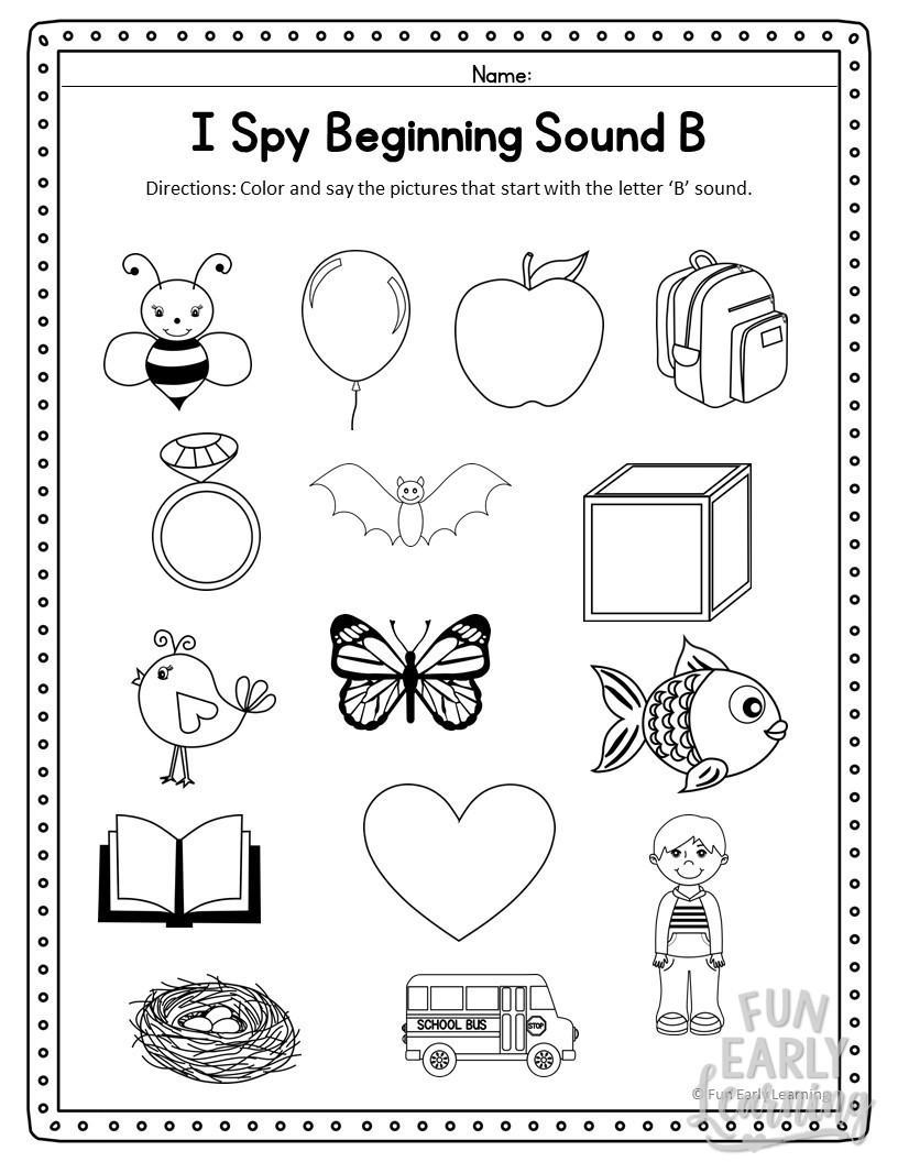 Medial sounds Worksheets First Grade I Spy Beginning sounds Activity Free Printable for Speech