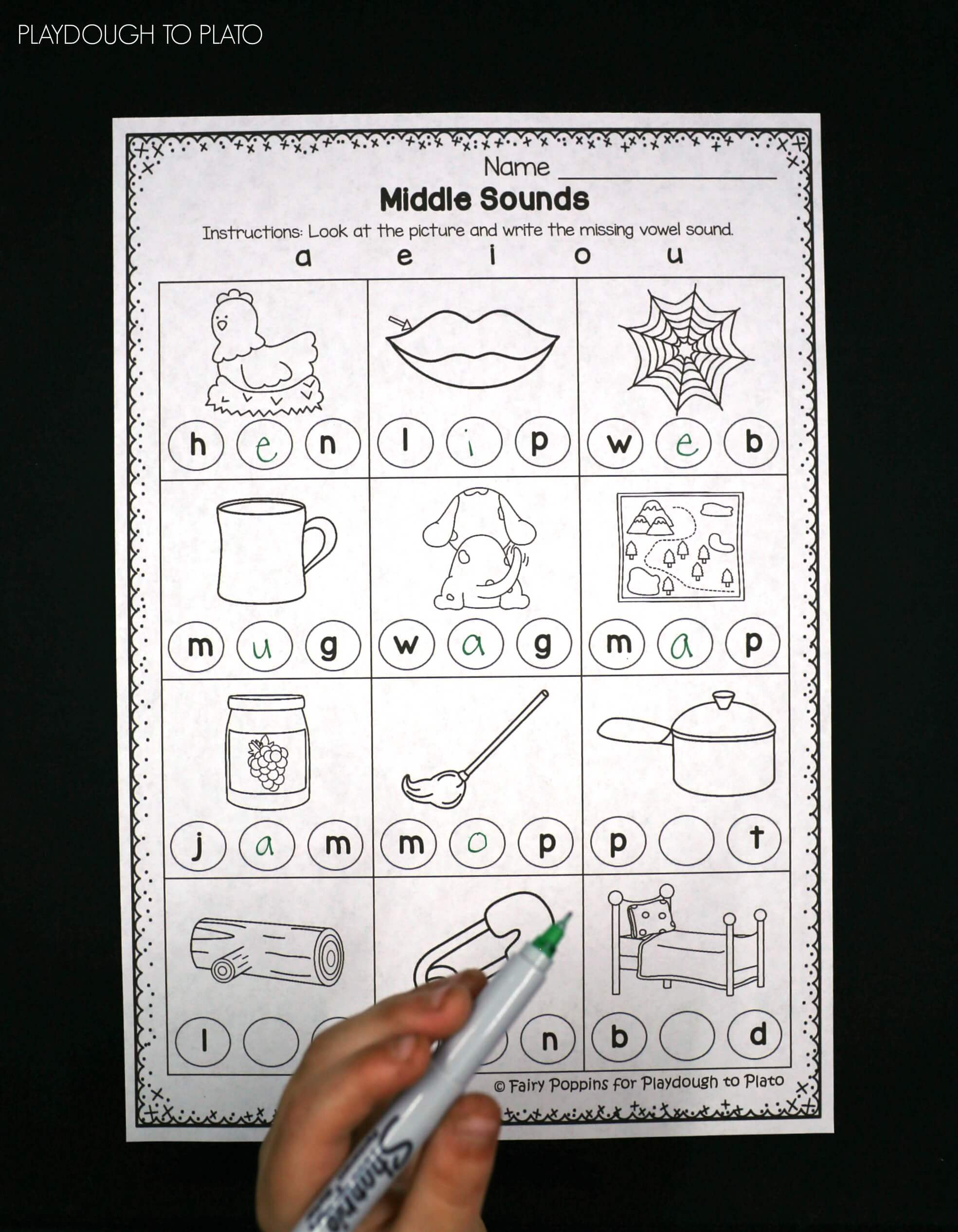 Medial sounds Worksheets First Grade Middle sounds Worksheets Playdough to Plato