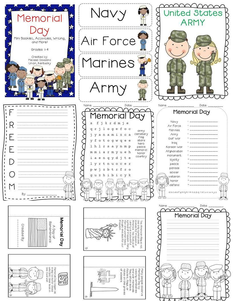 Memorial Day Worksheets First Grade Memorial Day Activities Mini Book Writing and Posters