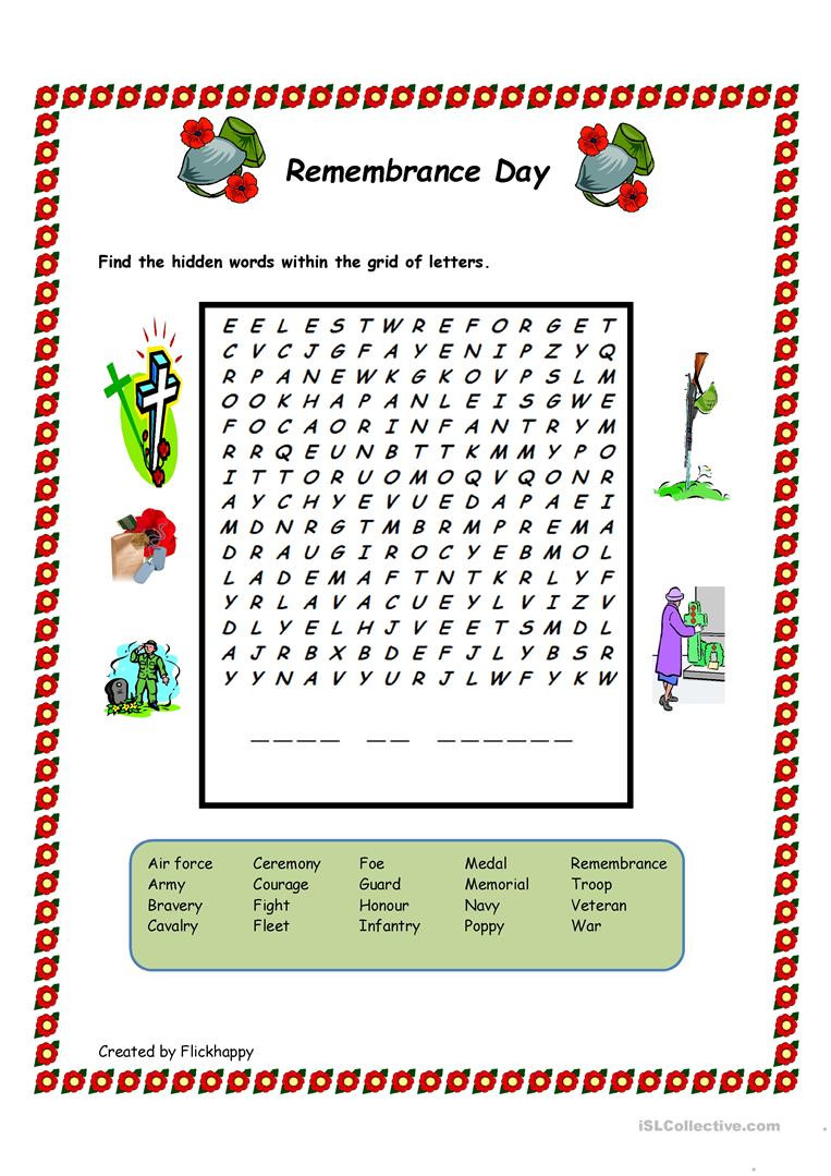 Memorial Day Worksheets First Grade Remembrance Day Wordsearch English Esl Worksheets for