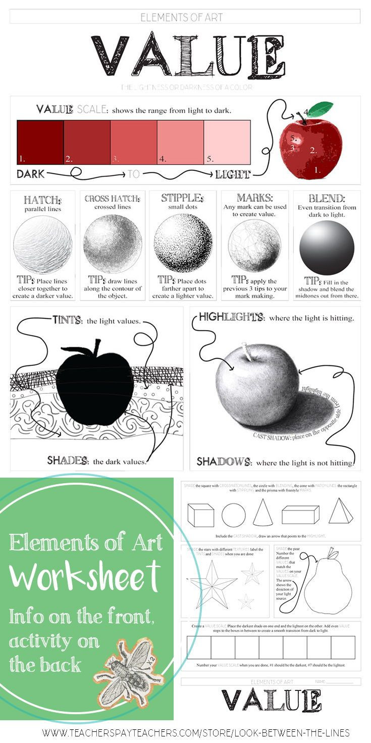 Middle School Art Worksheets Element Of Art Value Worksheet Elementary Middle and High