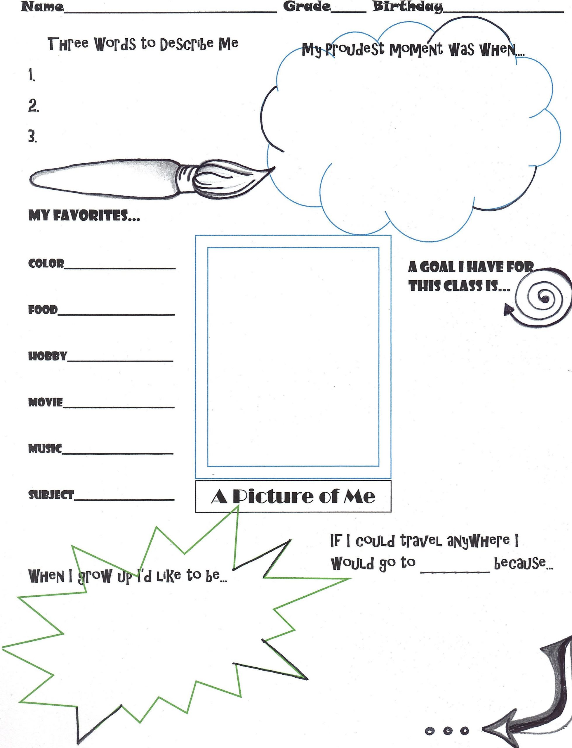 """Middle School Art Worksheets Getting to Know You"""" Activity for the First Day Of Art Class"""