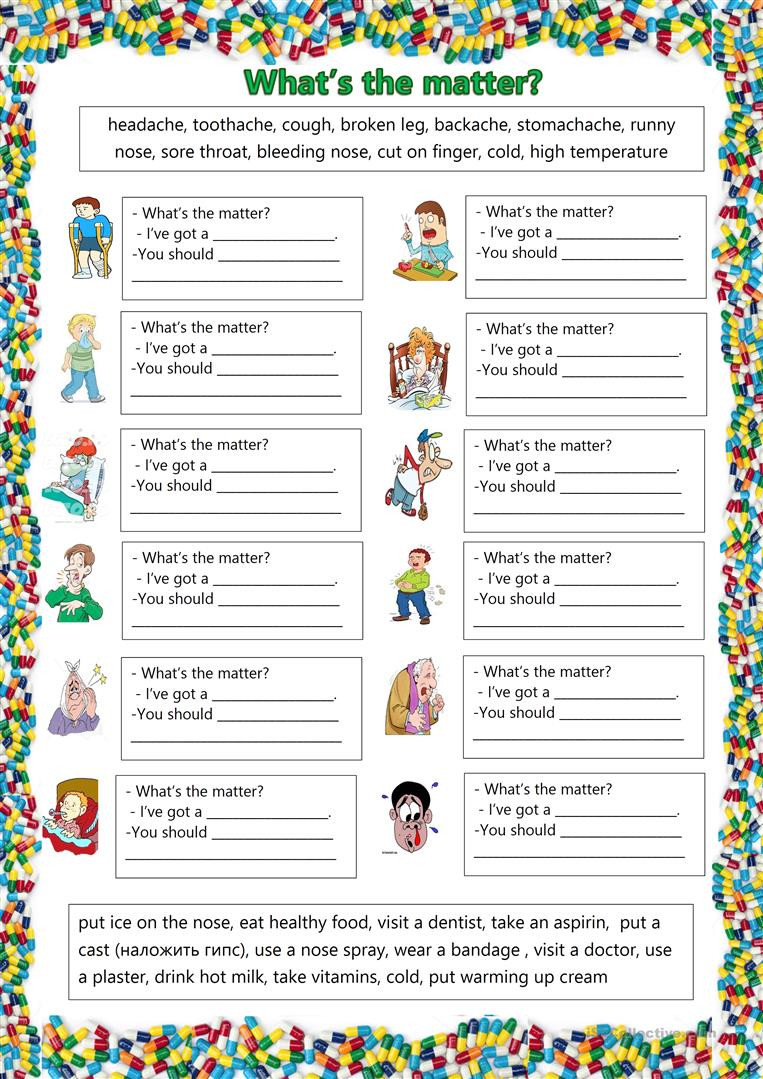 Middle School Health Worksheets English Esl What S the Matter Worksheets Most Ed