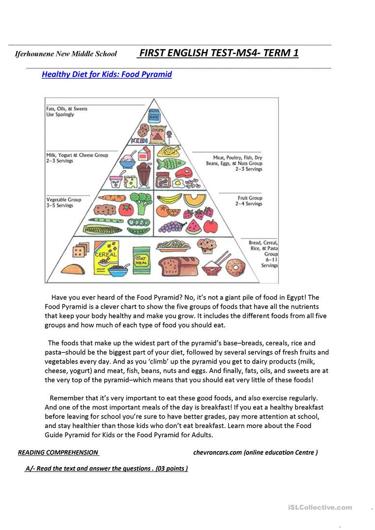 Middle School Health Worksheets Food Pyramid English Esl Worksheets for Distance Learning