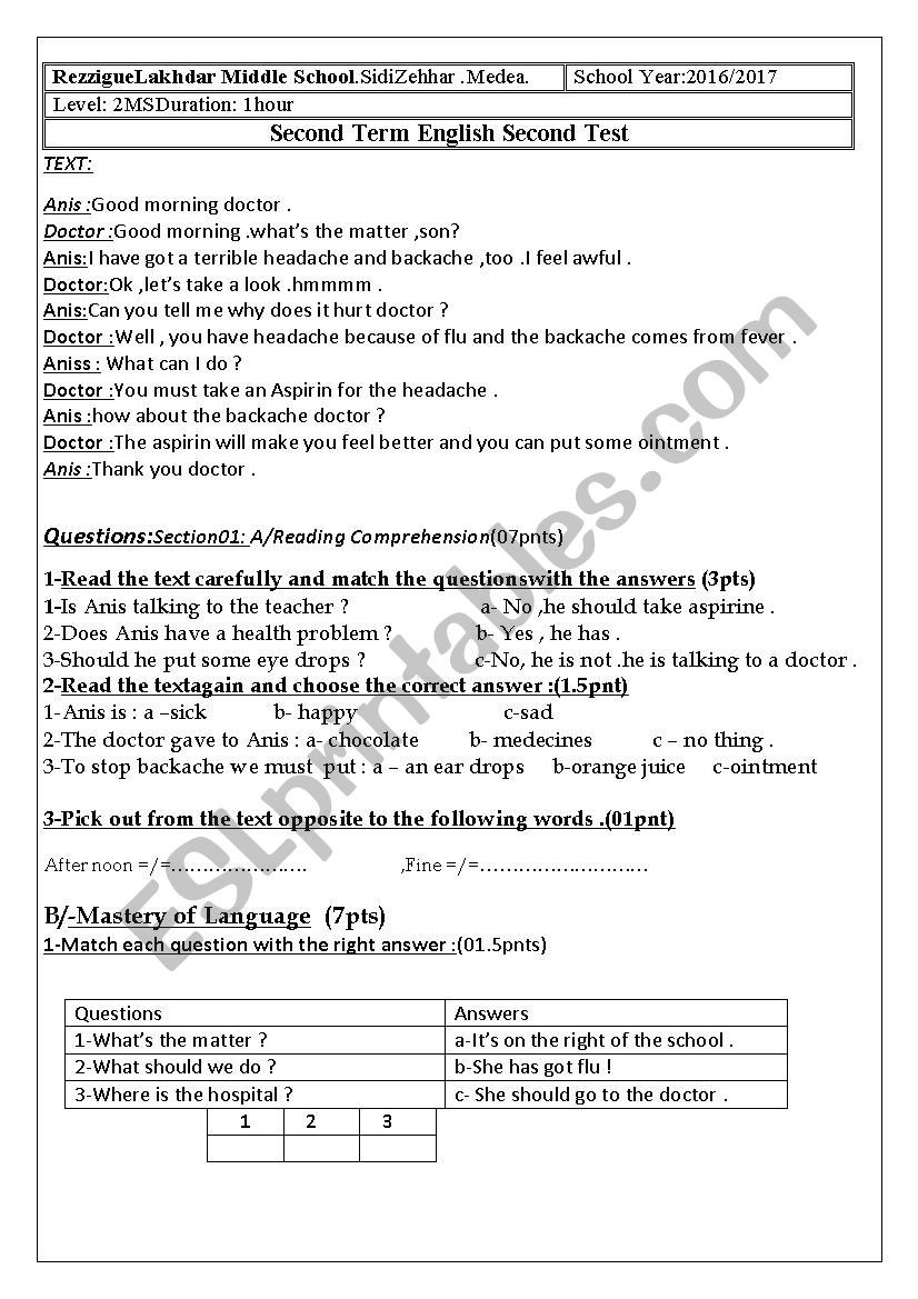 Middle School Health Worksheets Pdf Health Problem Esl Worksheet by Lina333