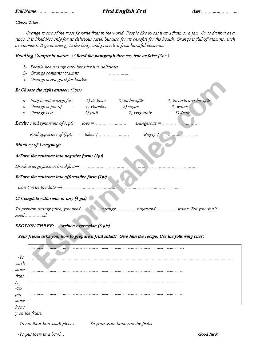Middle School Health Worksheets Pdf Test About orange Fruit for 2nd Year Middle School Students
