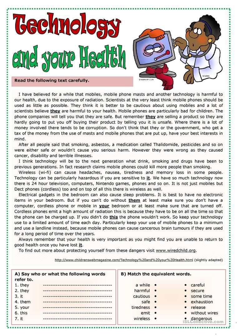 Middle School Health Worksheets Technology and Your Health