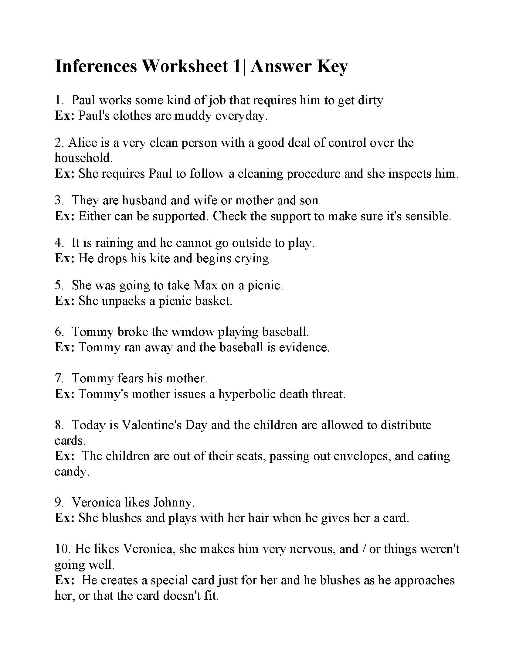 Middle School Inference Worksheets Inferences Worksheet Answers Practice Making Worksheets My