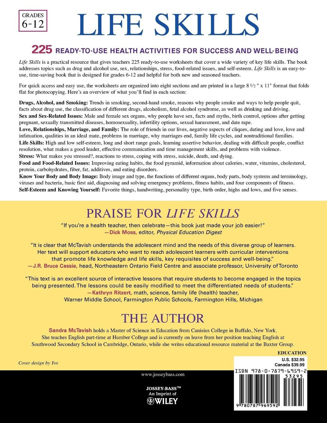 Middle School Life Skills Worksheets Buy Life Skills 225 Ready–to–use Health Activities for