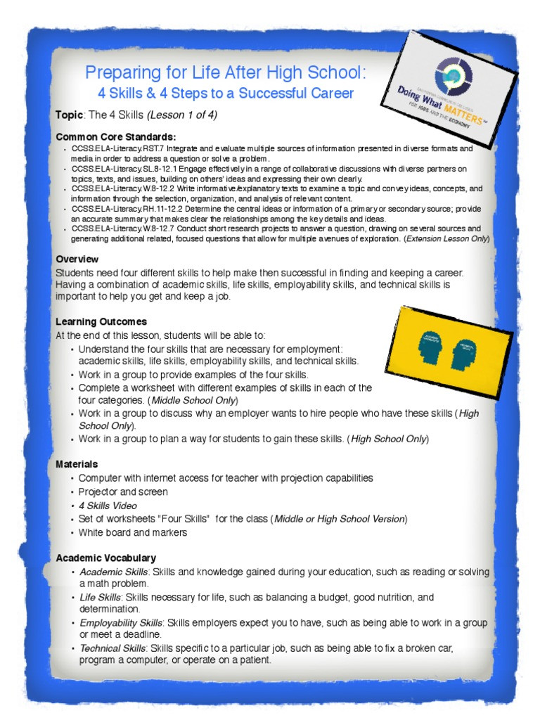 Middle School Life Skills Worksheets Lesson 1 the 4 Skills Information