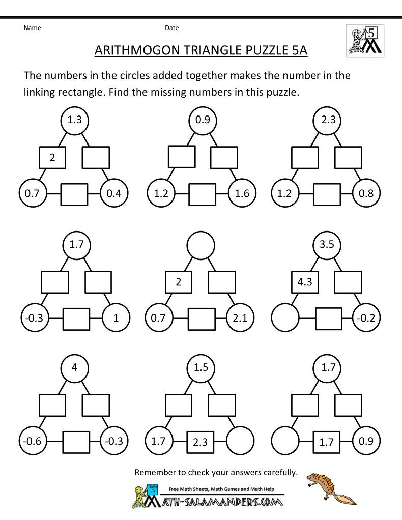 Middle School Math Puzzles Printable Printable Math Brain Teasers that are Intrepid