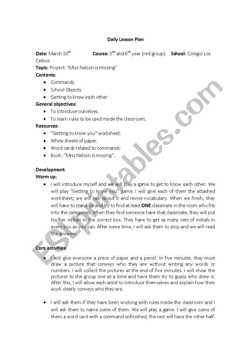 """Miss Nelson is Missing Printables English Worksheets Project On """"miss Nelson is Missing"""""""