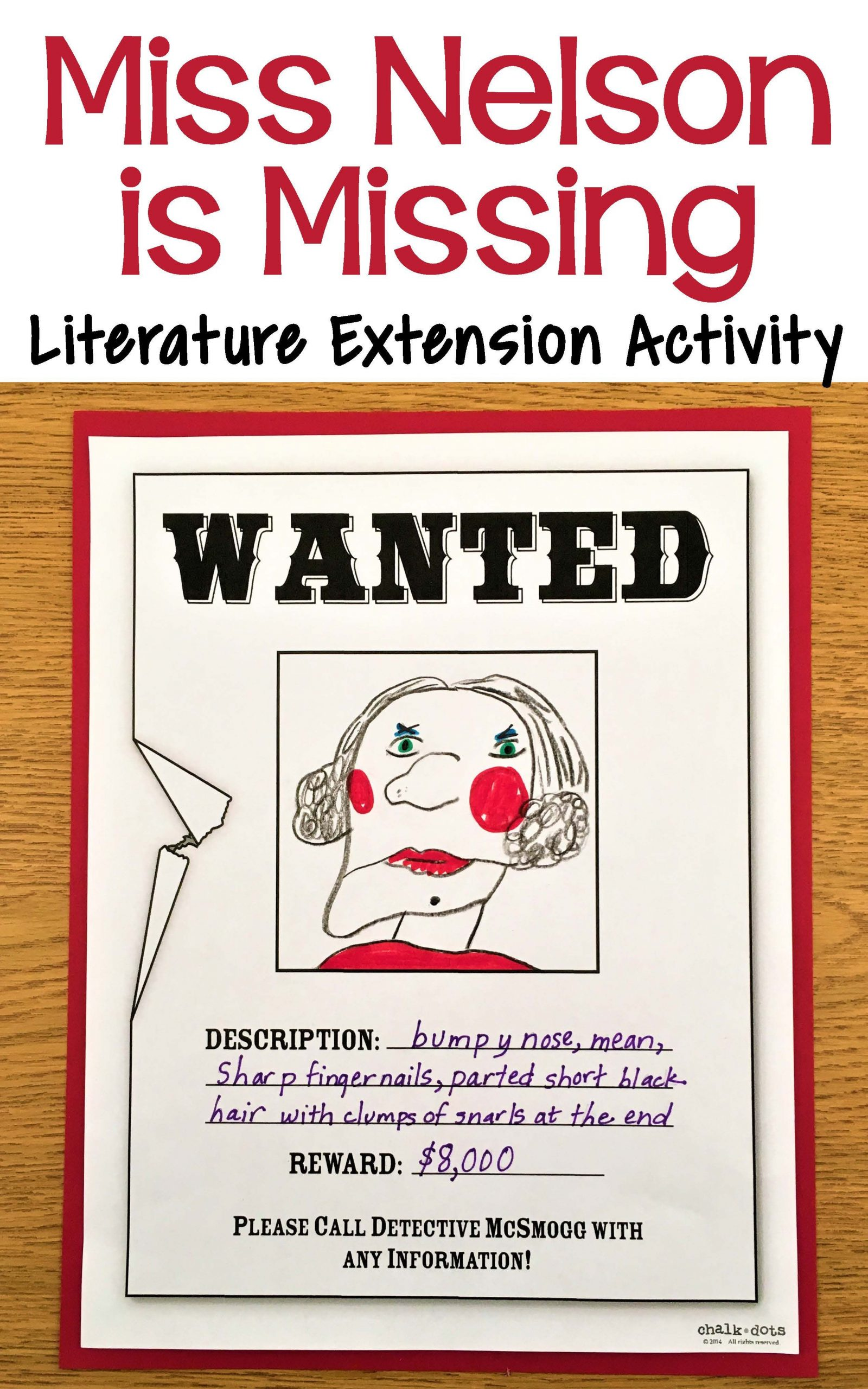 Miss Nelson is Missing Printables Miss Nelson is Missing Literature Extension Activity