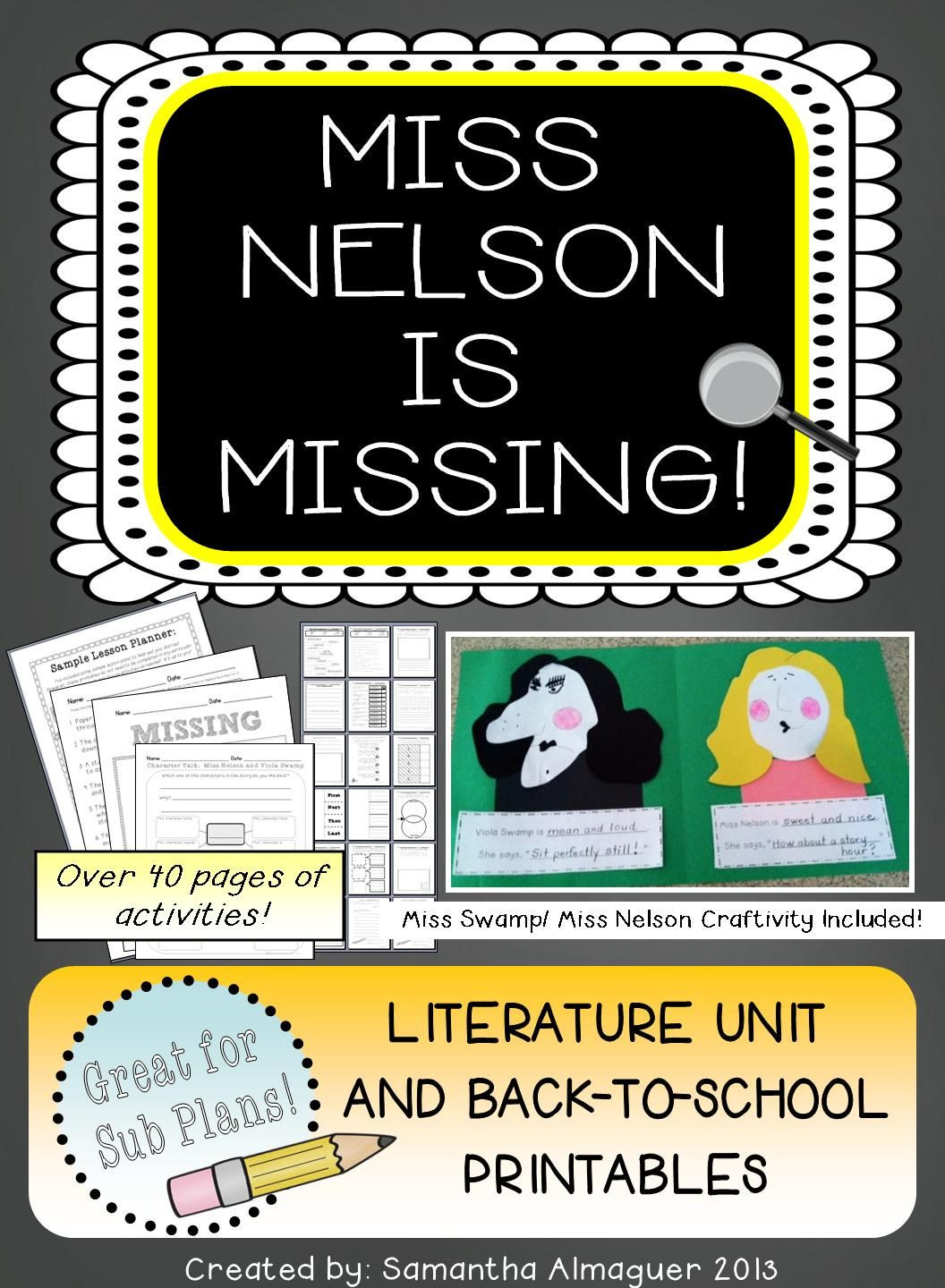 Miss Nelson is Missing Printables Miss Nelson is Missing Literature Unit & Back to School