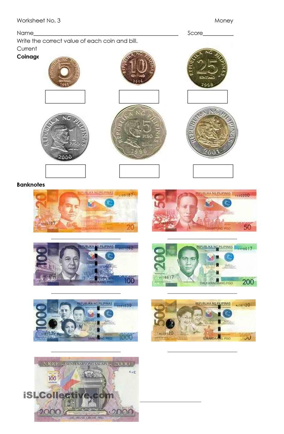 Money Worksheets for 3rd Grade Money Philippine Coins and Bills