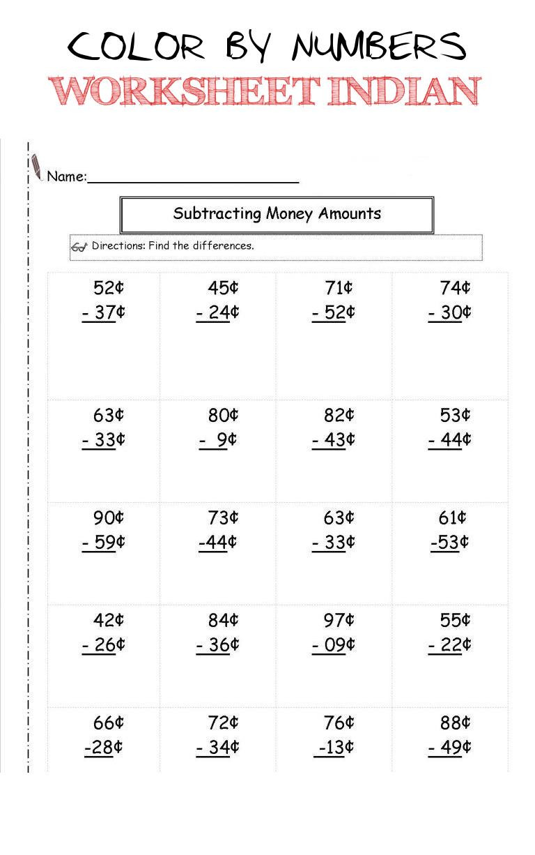 Money Worksheets for Second Grade Color by Numbers Worksheet Indian Money Worksheets 2nd Grade