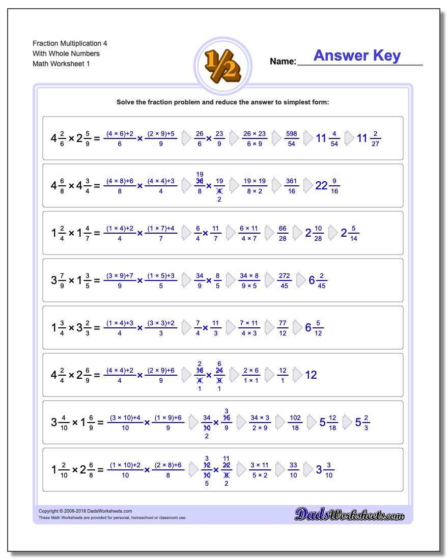 Multiplying Fractions Worksheet 6th Grade Fraction Multiplication with wholes