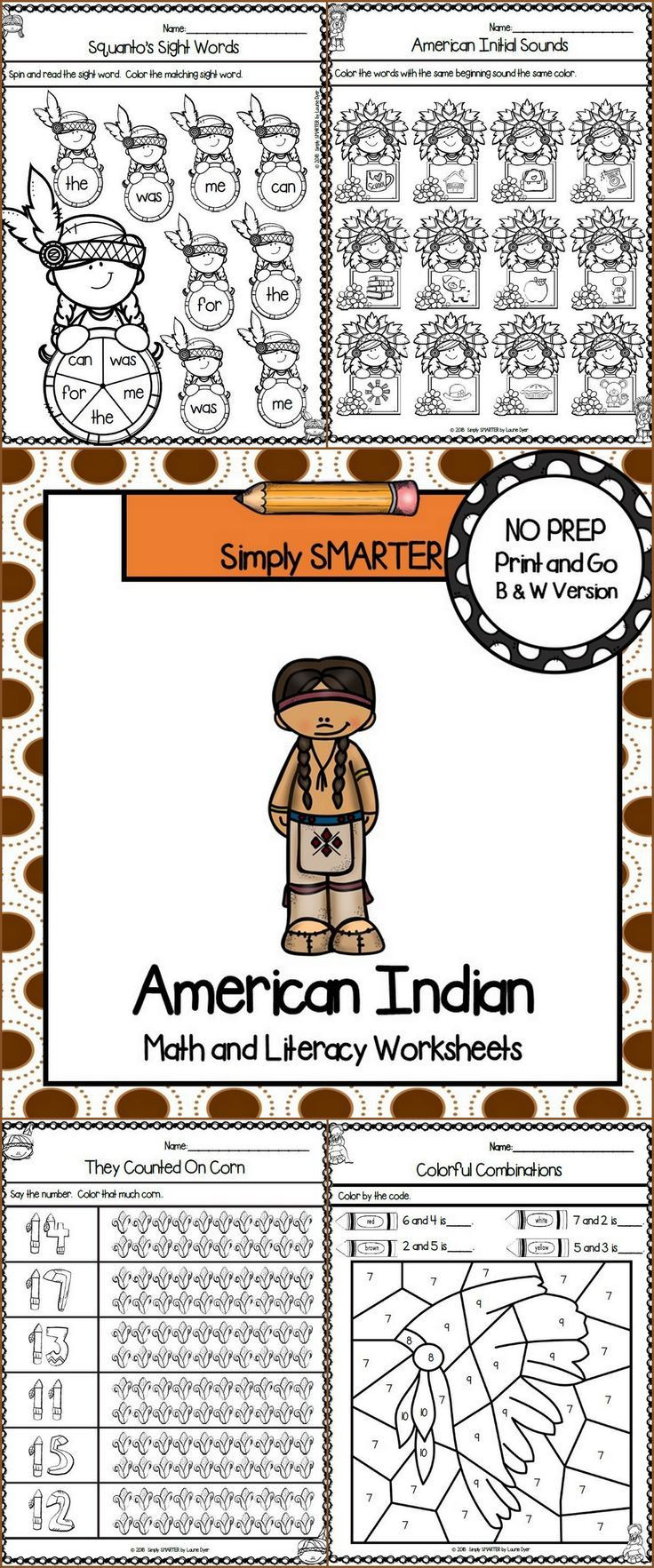 Native American Math Worksheets American Indian themed Kindergarten Math and Literacy