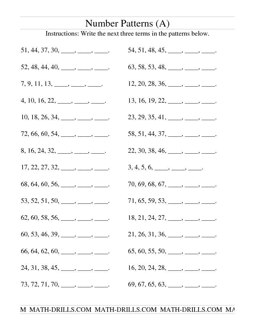 Number Patterns Worksheets Grade 6 Growing and Shrinking Number Patterns A Patterning