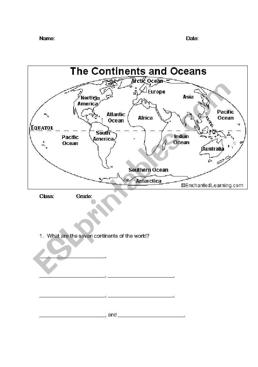 Oceans and Continents Worksheets Printable Continents and Oceans Esl Worksheet by Bbrenton