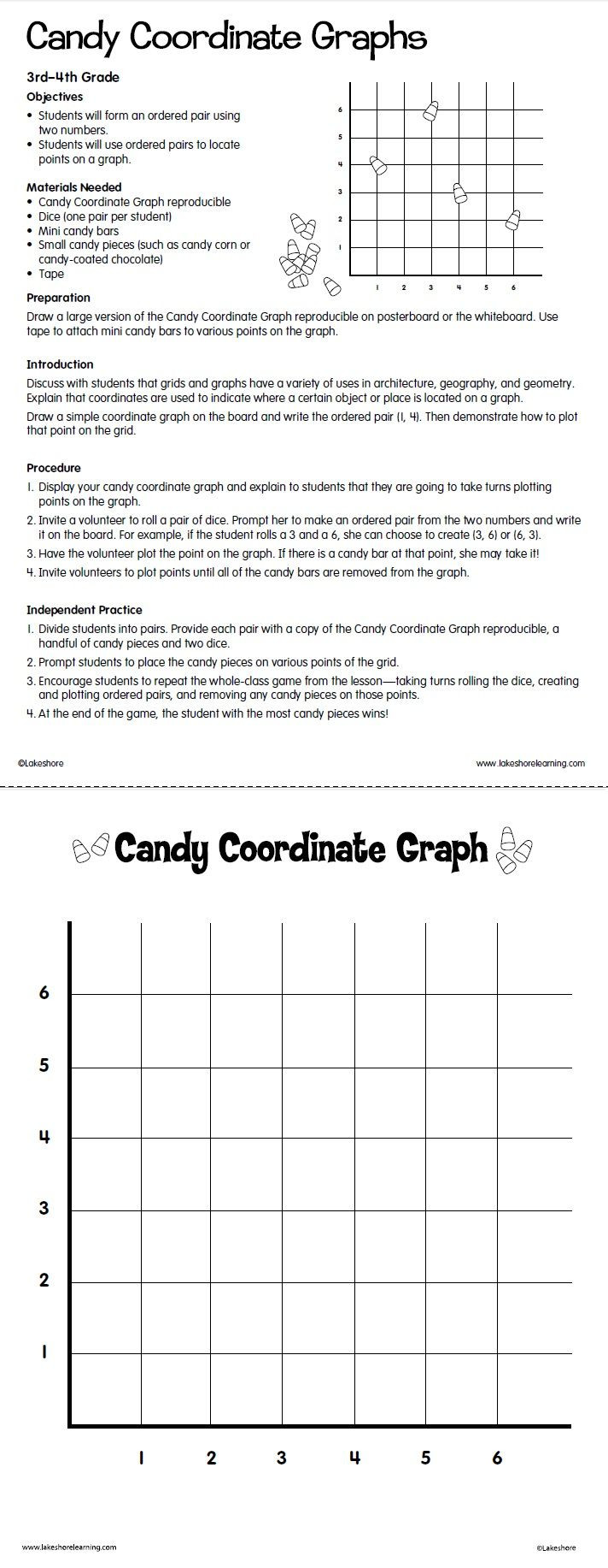Ordered Pairs Worksheet 5th Grade Candy Coordinate Graphs Lesson Plan From Lakeshore Learning