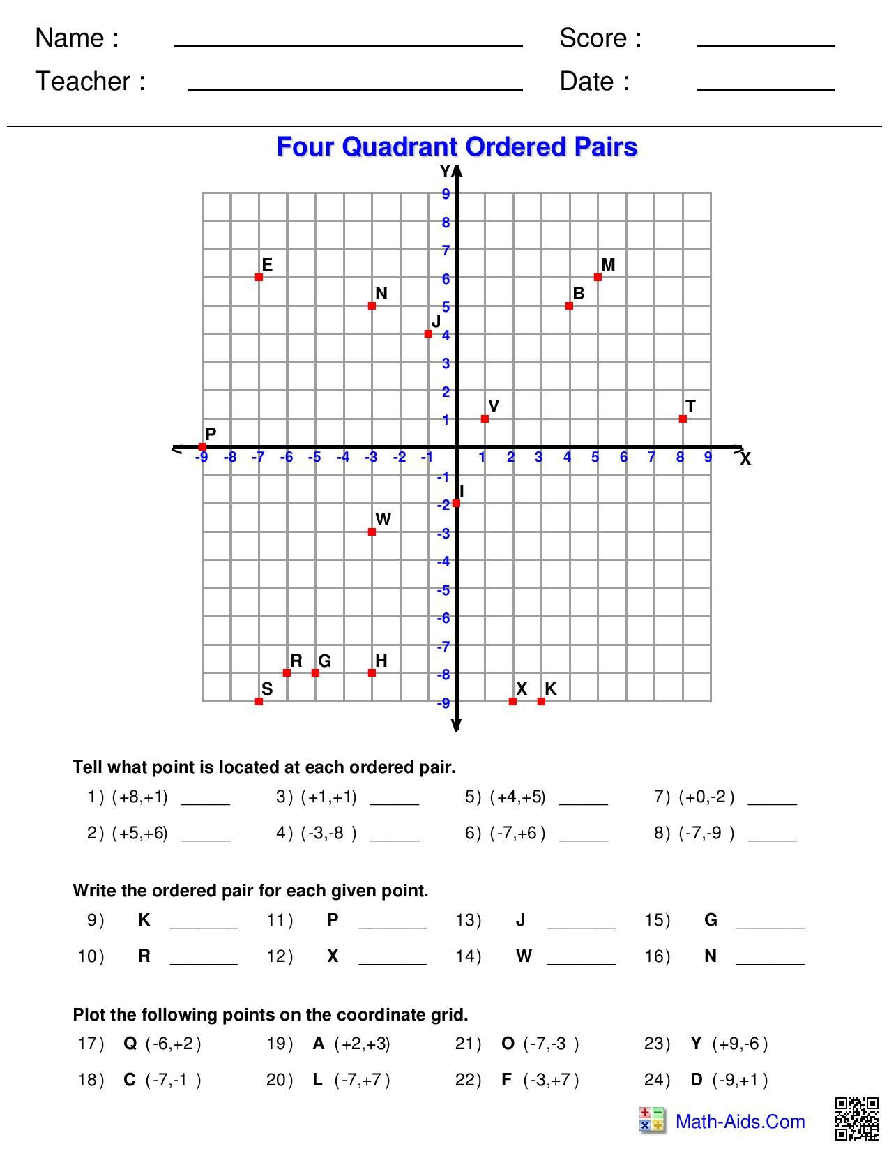 Ordered Pairs Worksheet 5th Grade Four Quadrant ordered Pairs Worksheet