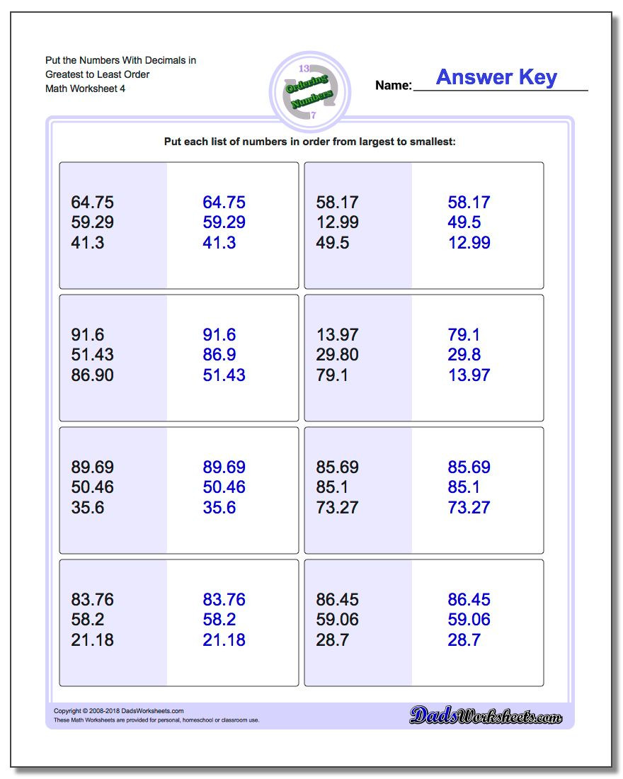 Ordering Decimals Worksheet 5th Grade Place Value ordering with Decimals