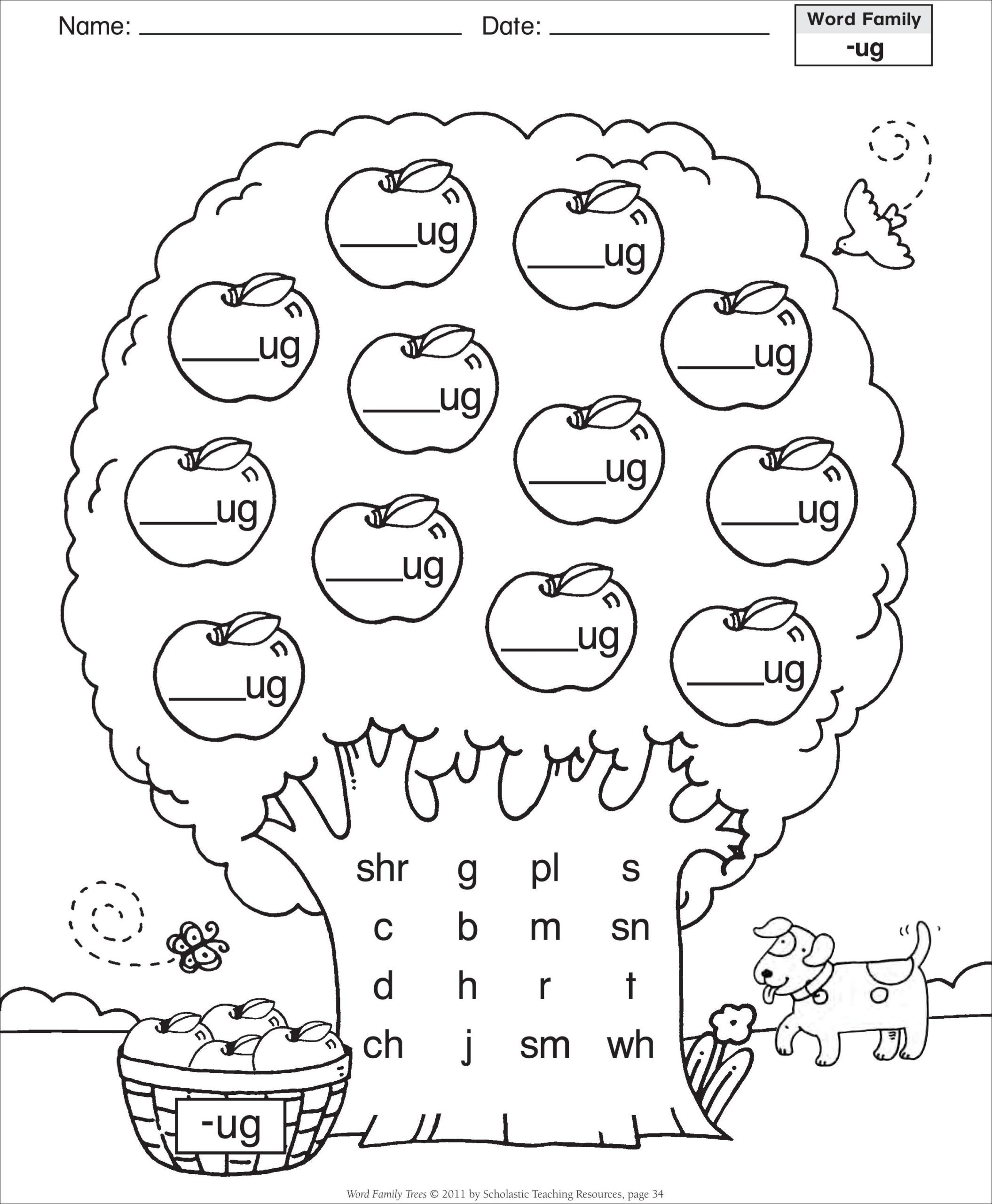 Ou Ow Worksheets 2nd Grade Short Vowel Ug Word Family Tree Families Reading Ou Ow
