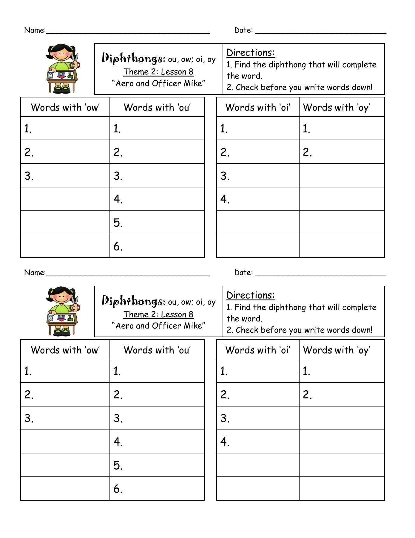 Ou Ow Worksheets 3rd Grade Oi and Oy Words Worksheet