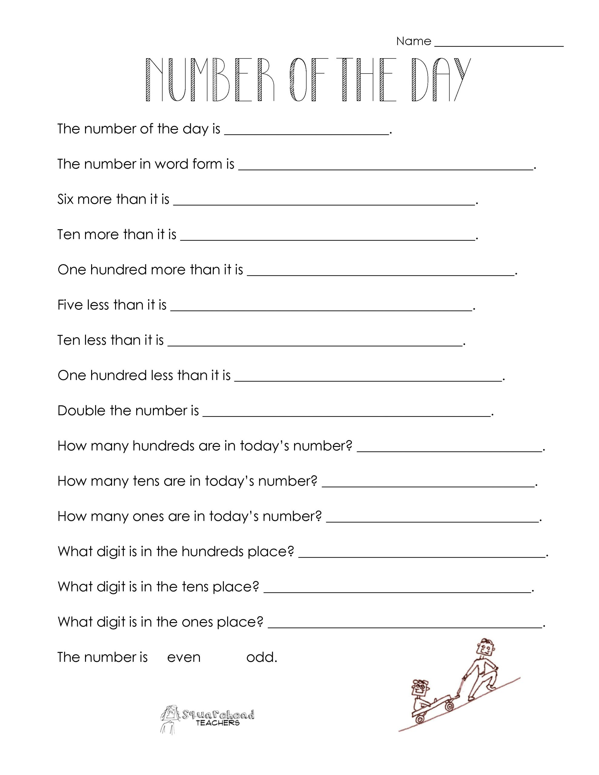 Pattern Worksheets 4th Grade Number Of the Day Worksheet Collection