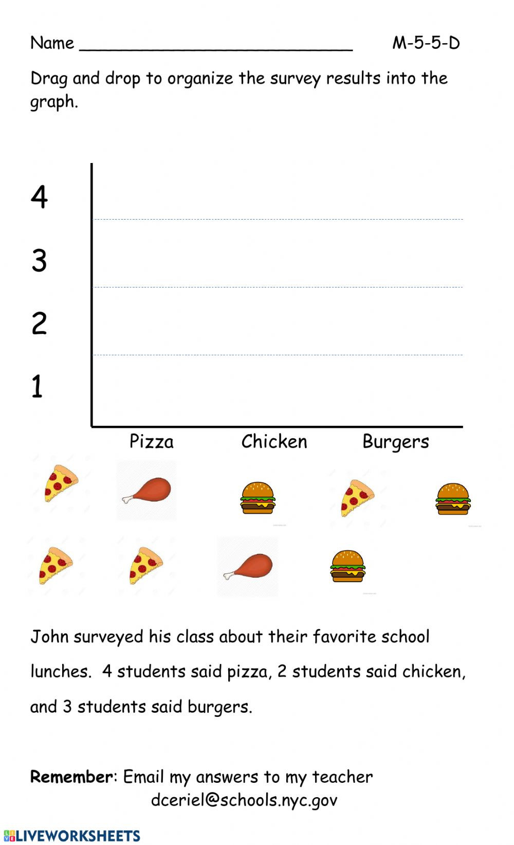 Pictograph for 2nd Grade Pictograph Practice Interactive Worksheet