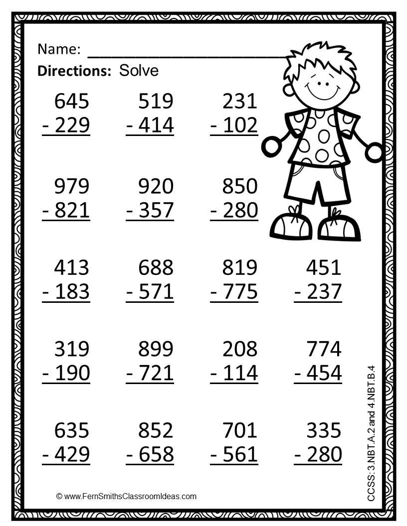 Place Value Worksheet 3rd Grade 3rd Grade Go Math 1 10 Use Place Value to Subtract Color by