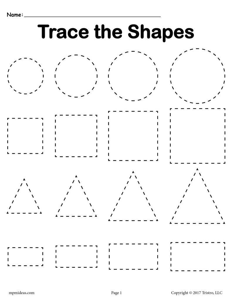 Polygon Worksheets 5th Grade 3 Tracing Shapes Worksheets Smallest to St