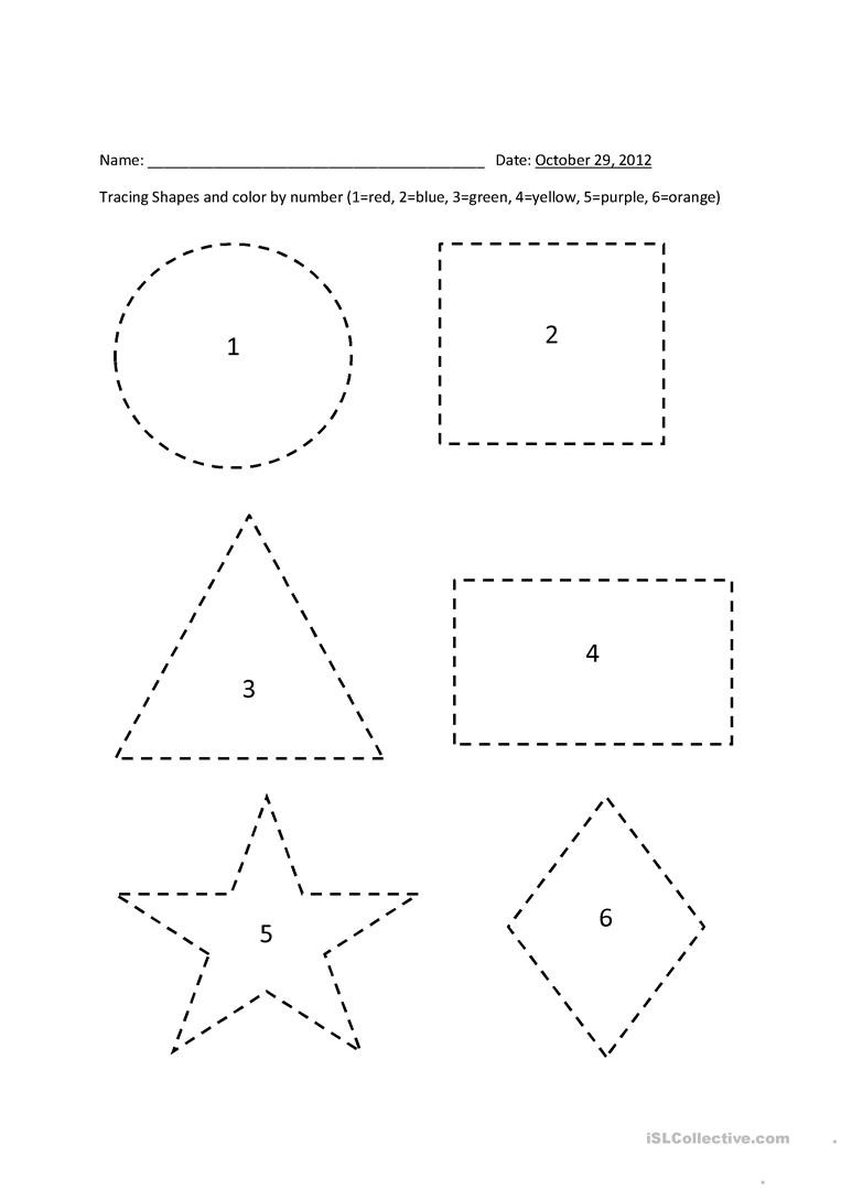 Polygon Worksheets 5th Grade Tracing Shapes Color by Number English Esl Worksheets for