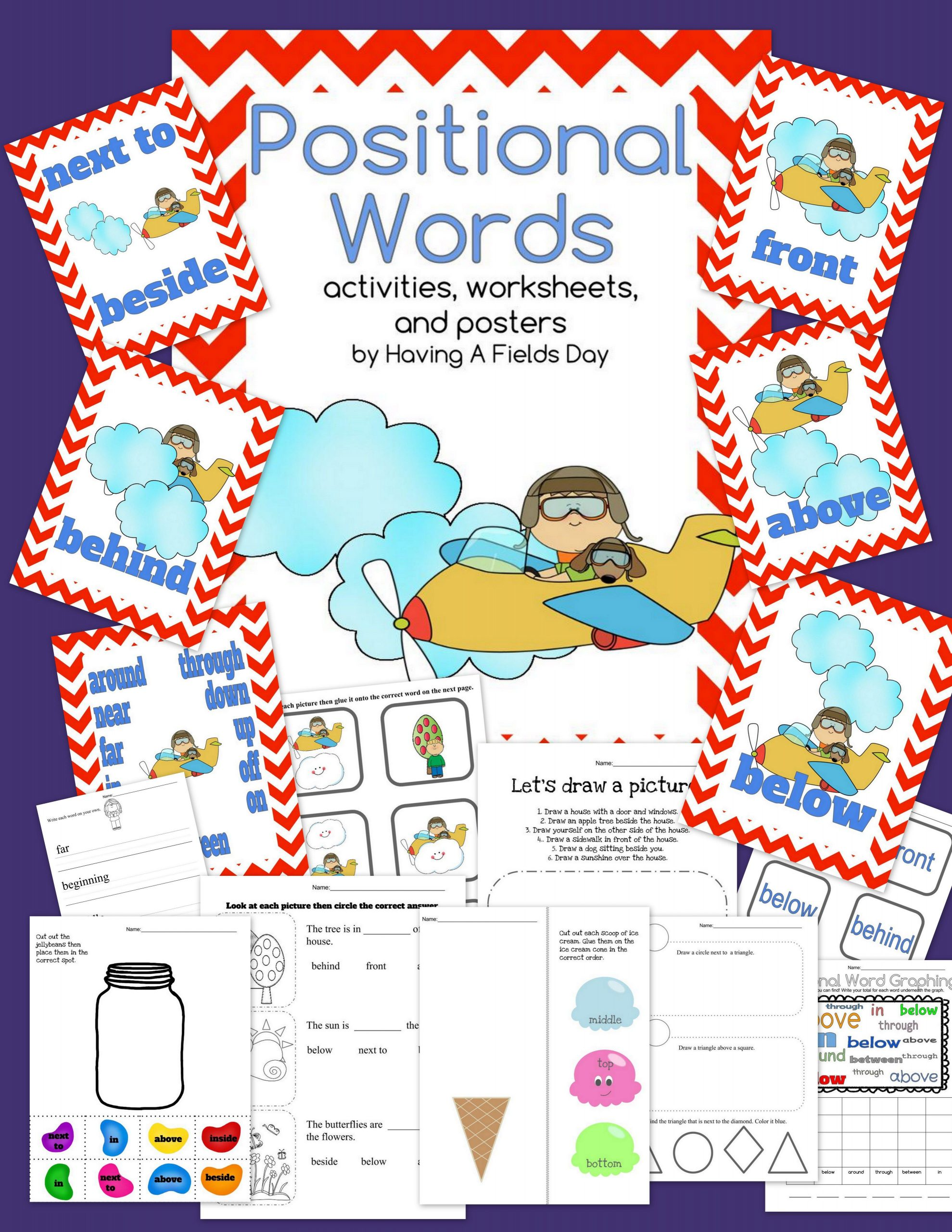 Positional Words Preschool Worksheets Positional Words Placement Words Digital Boom Cards and