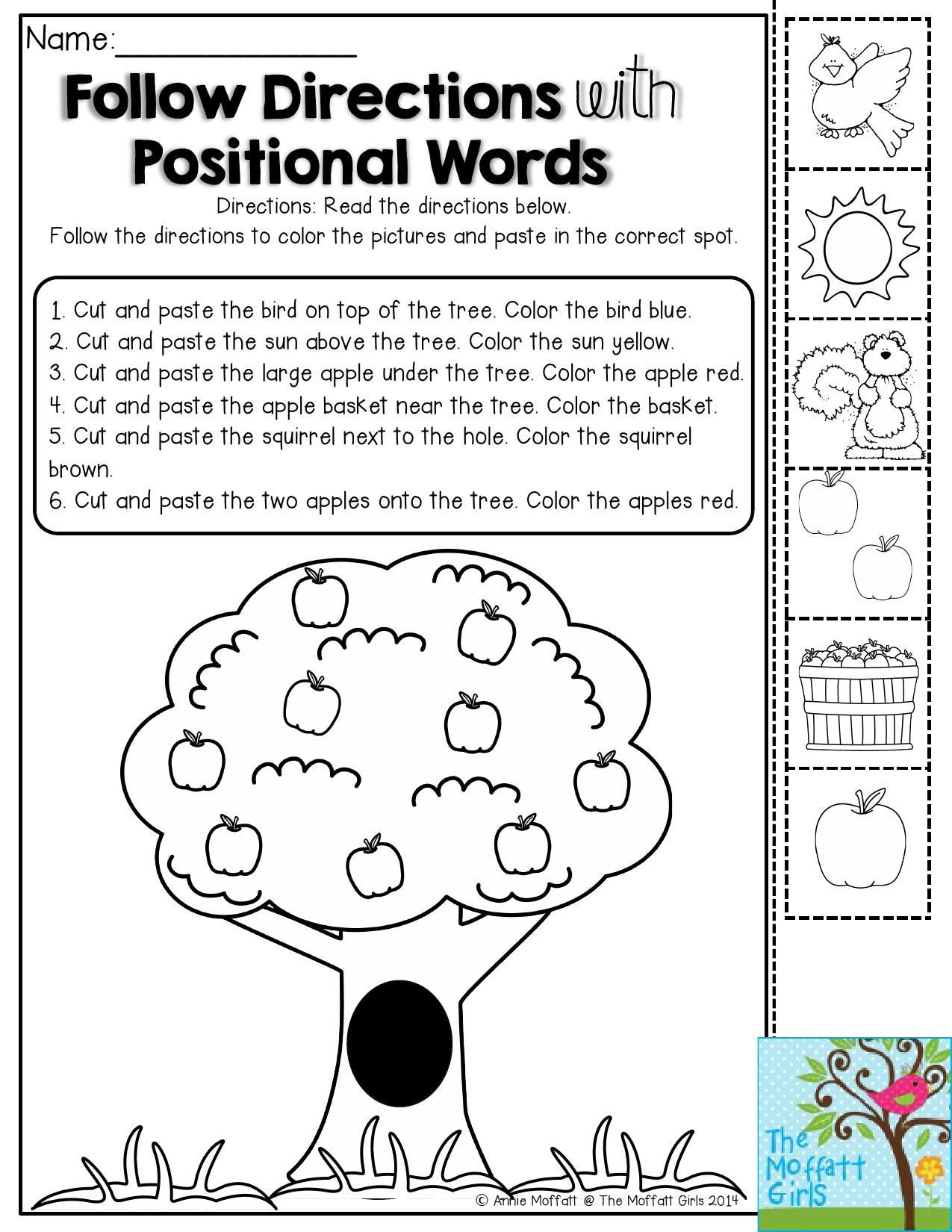 Positional Words Worksheets for Preschool Back to School Packets