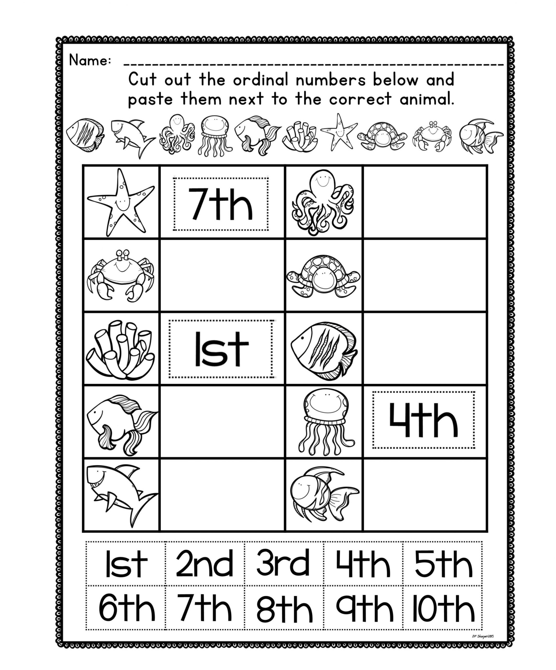 Positional Words Worksheets for Preschool ordinal Number Posters and Worksheets