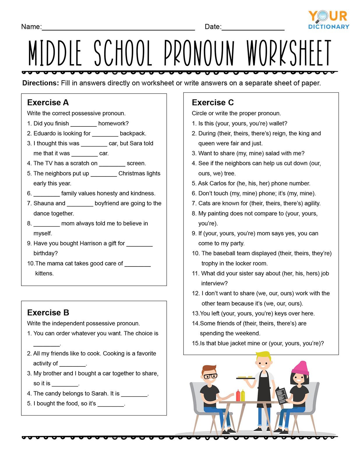 Possessive Pronoun Worksheet 3rd Grade Pronoun Worksheets for Practice and Review
