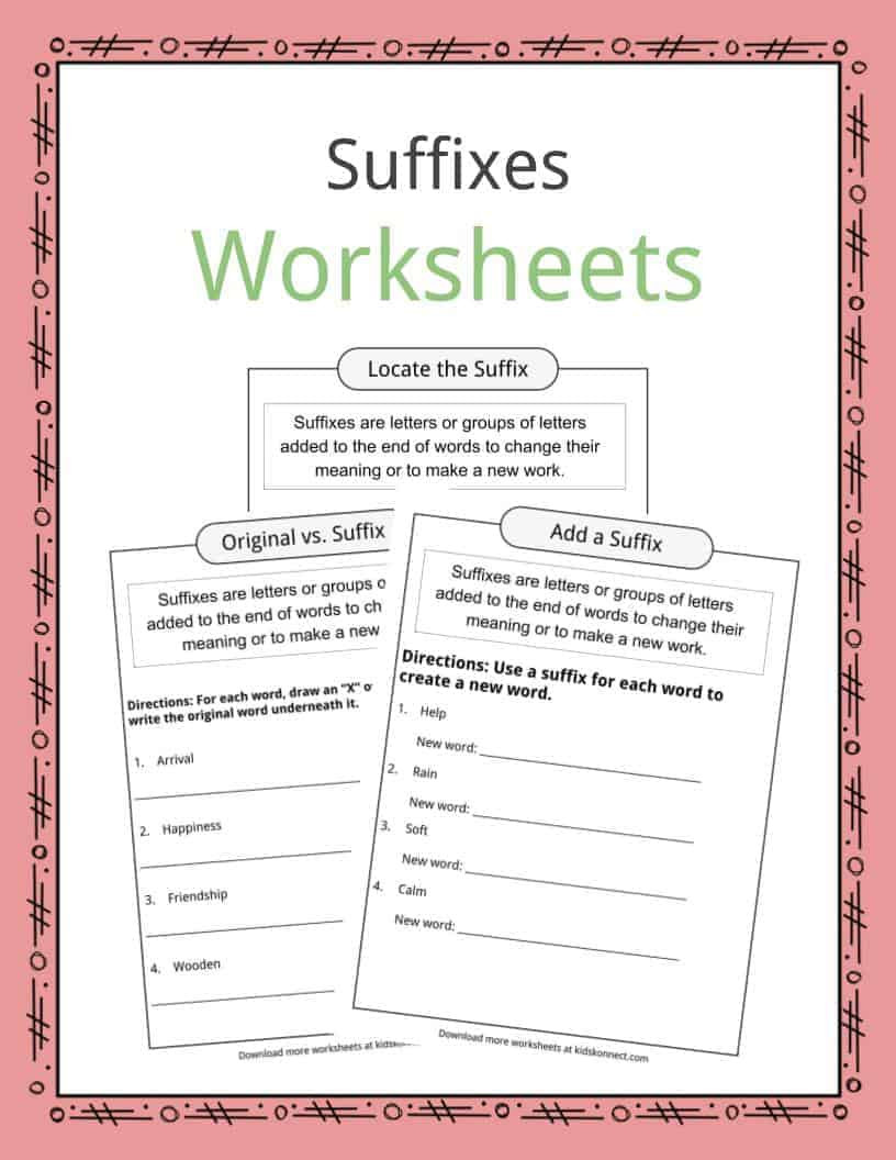 Prefix Suffix Worksheets 3rd Grade Suffixes Worksheets Examples & Definition for Kids