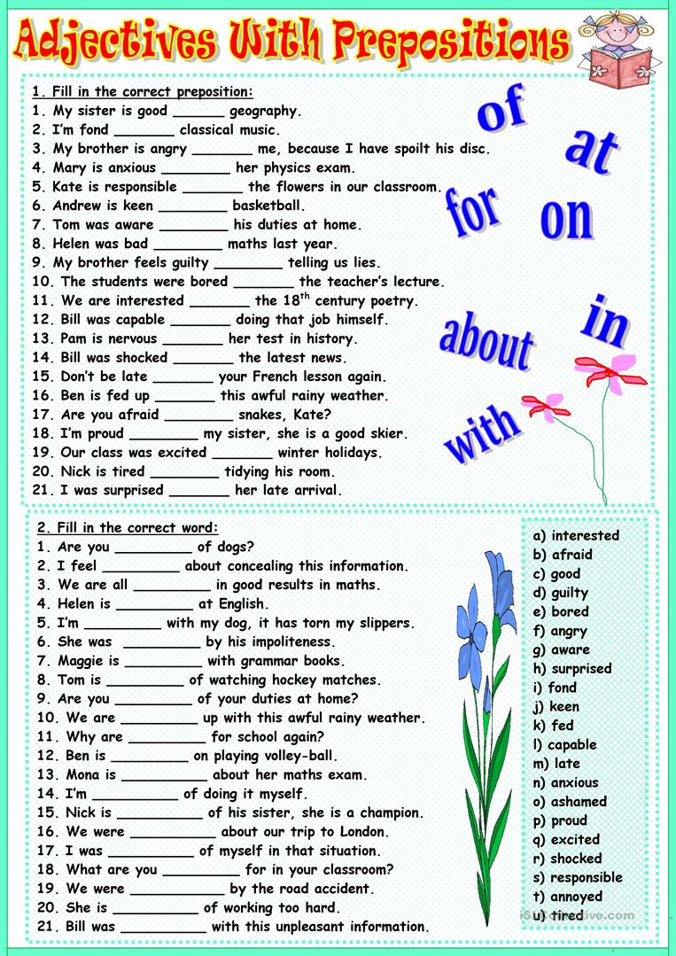 Prepositions Worksheets Middle School Adjectives with Prepositions English Esl Worksheets for