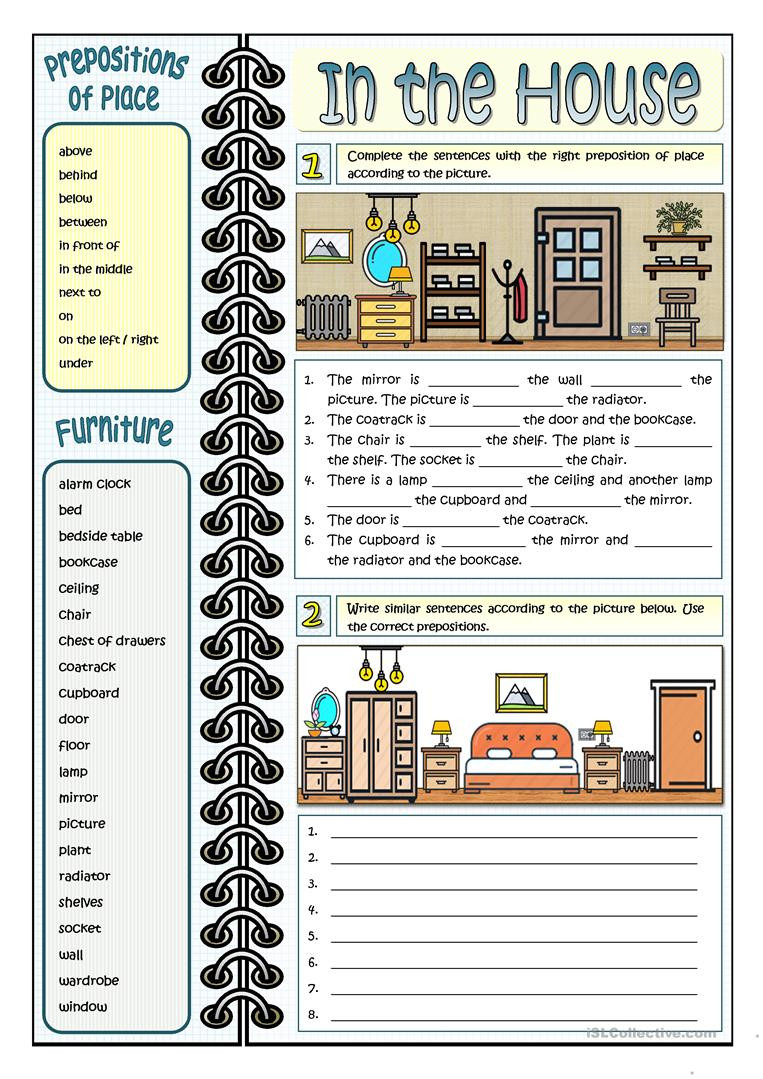 Prepositions Worksheets Middle School In the House Prepositions Of Place English Esl