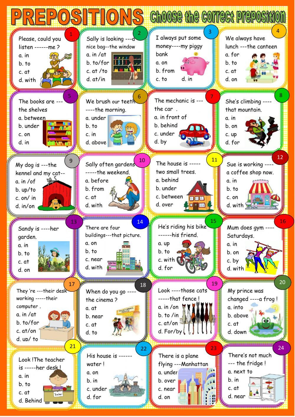 Prepositions Worksheets Middle School Prepositions All Types Interactive and Able
