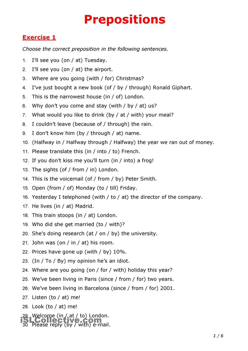 Prepositions Worksheets Middle School Prepositions In 2020