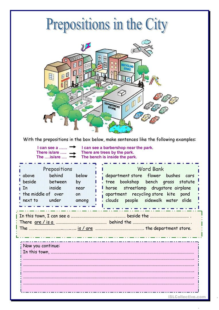 Prepositions Worksheets Middle School Prepositions In the City English Esl Worksheets for