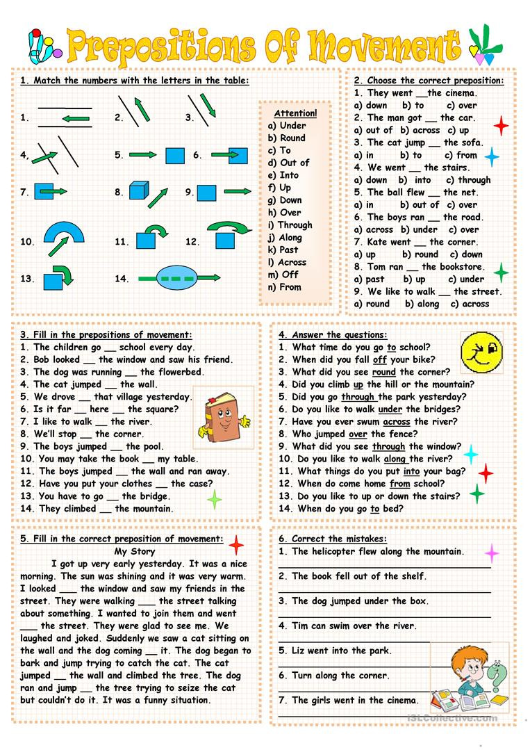 Prepositions Worksheets Middle School Prepositions Movement English Esl Worksheets for Distance