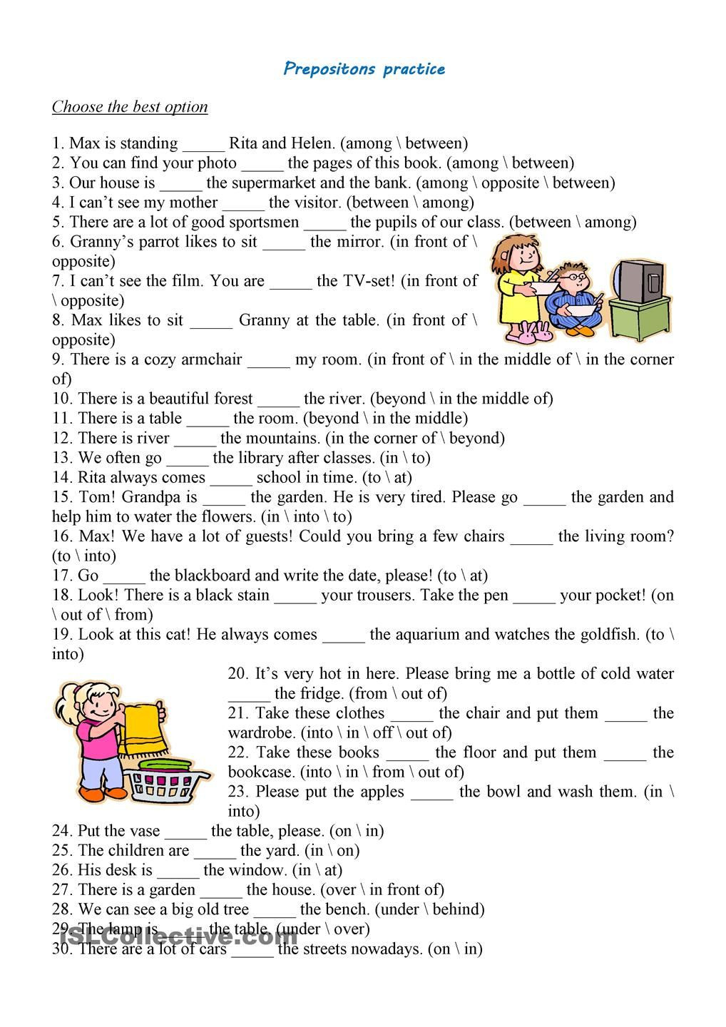 Prepositions Worksheets Middle School Prepositions Practice