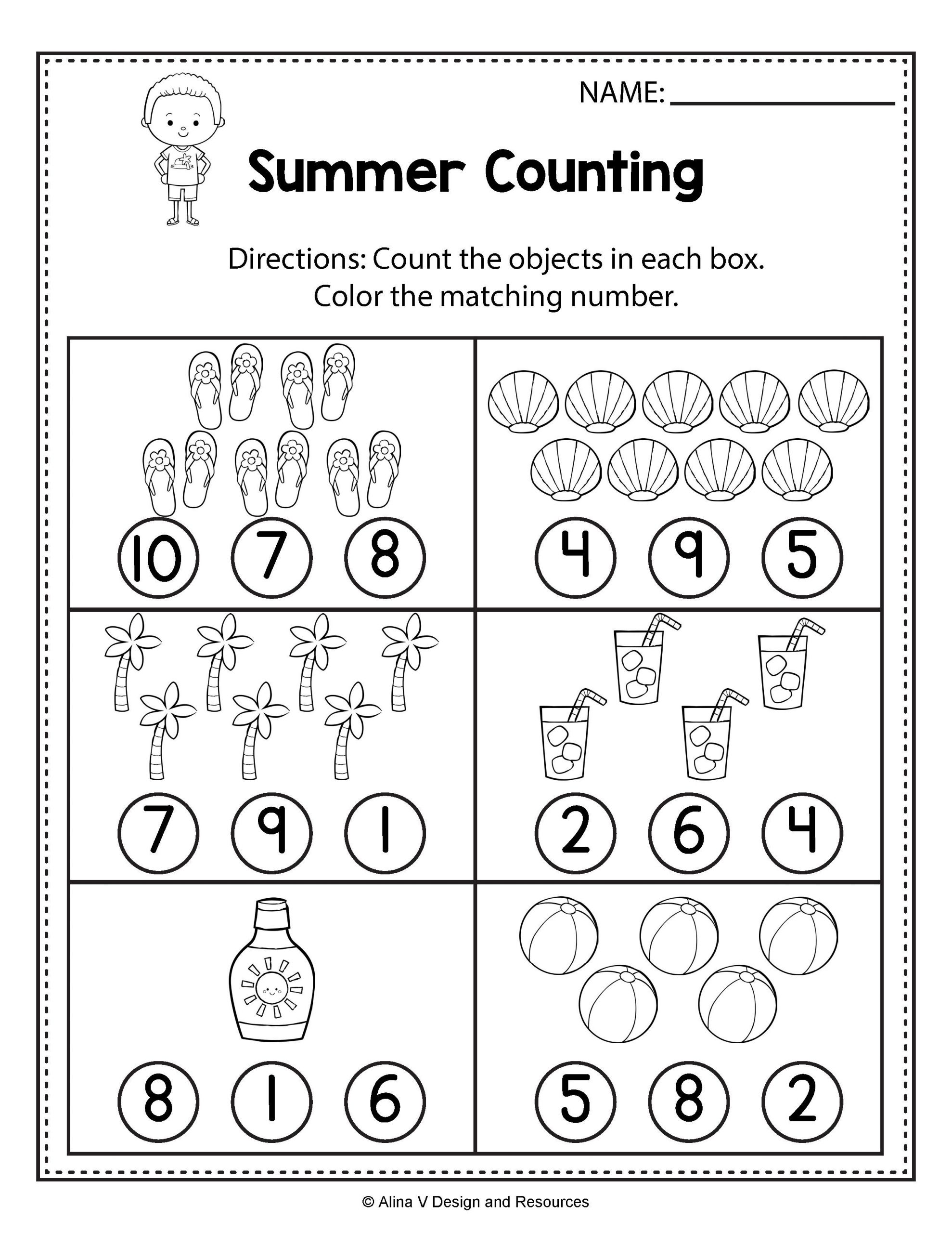 Preschool Addition Worksheets Printable Counting Worksheets Summer Math Worksheets and Activities